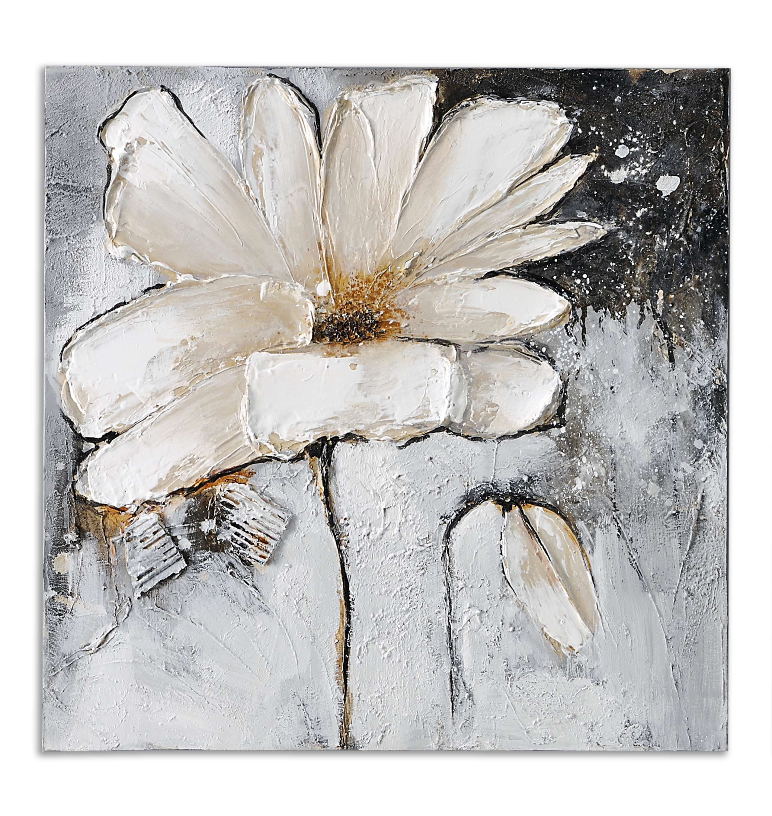 Gray And White Wall Art With Regard To Trendy Giftcraft – White Flower Oil Painting On Canvas (View 14 of 15)