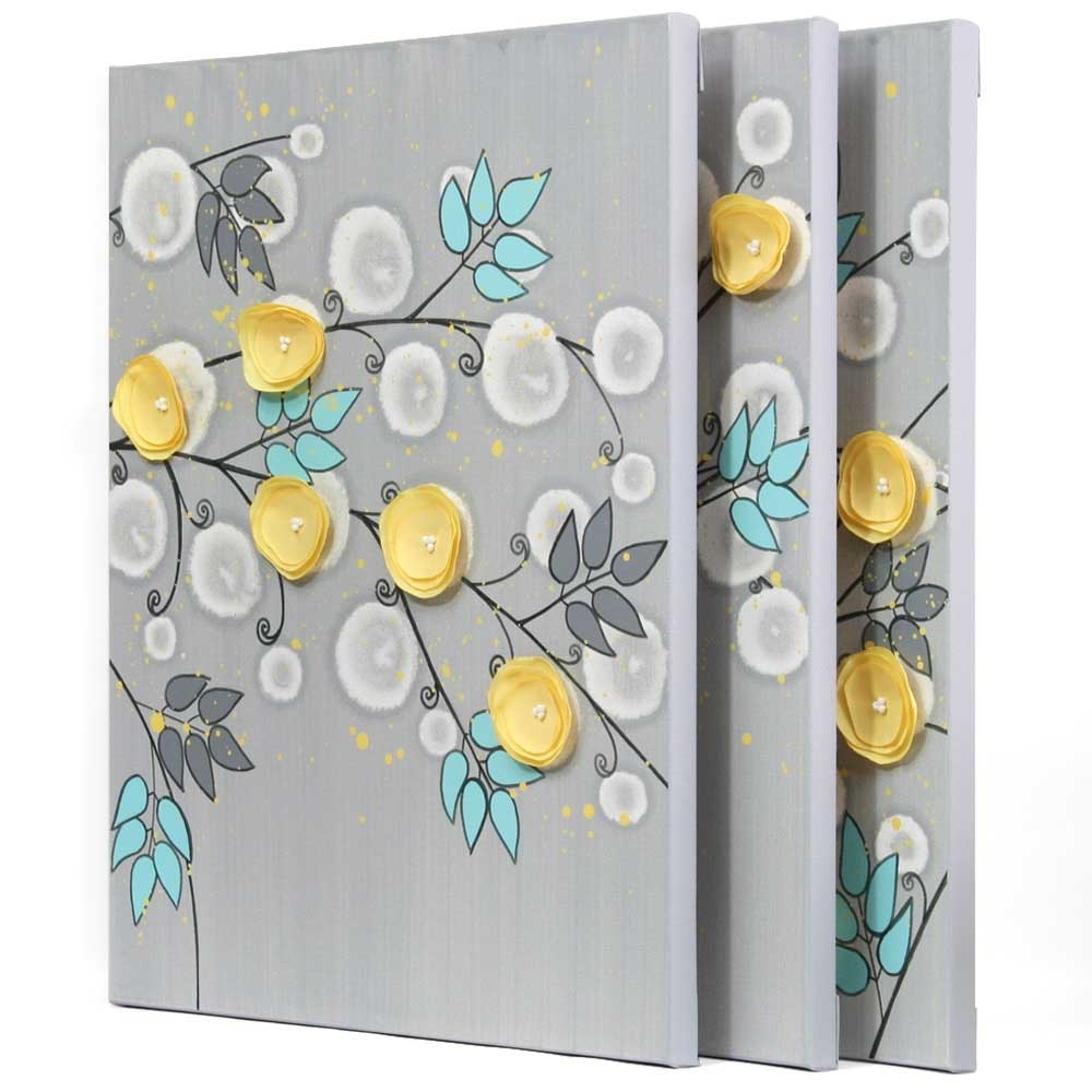 Gray And Yellow Wall Art Painting Of Flowers On Canvas – Large Throughout Trendy Yellow And Gray Wall Art (Gallery 8 of 15)