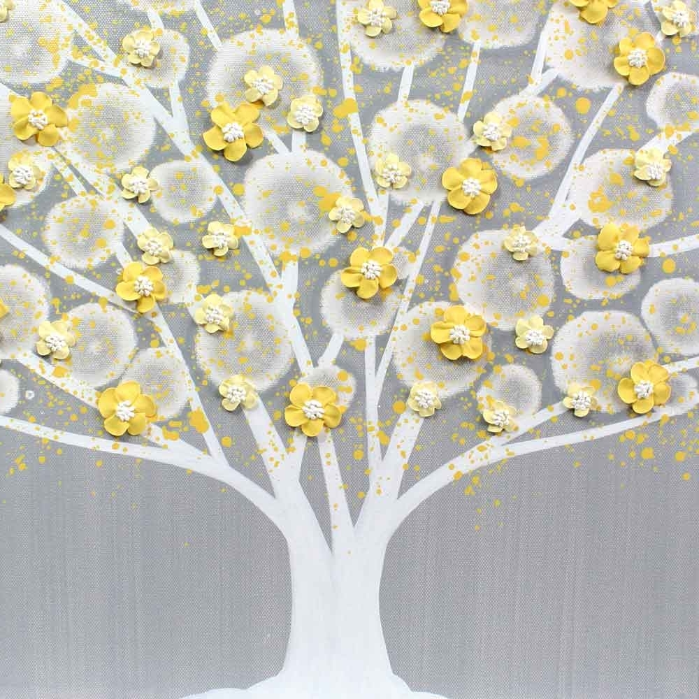 Gray And Yellow Wall Art Tree On Canvas Triptych – Large (View 8 of 15)