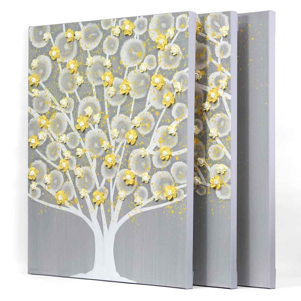 Gray And Yellow Wall Art Tree On Canvas Triptych – Large (View 6 of 15)