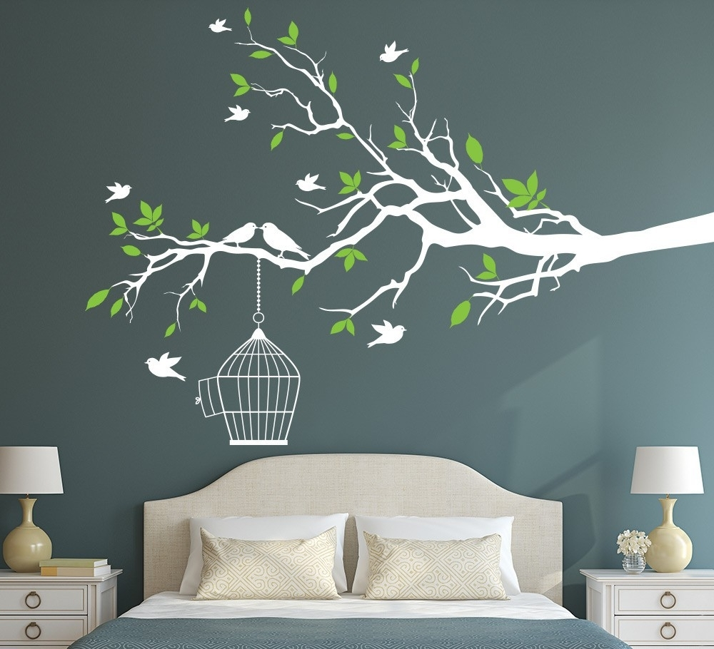 Green Leaves Wall Art Vinyl Decals Aliexpresss Online Shopping With Regard To Well Liked Tree Branch Wall Art (View 4 of 15)