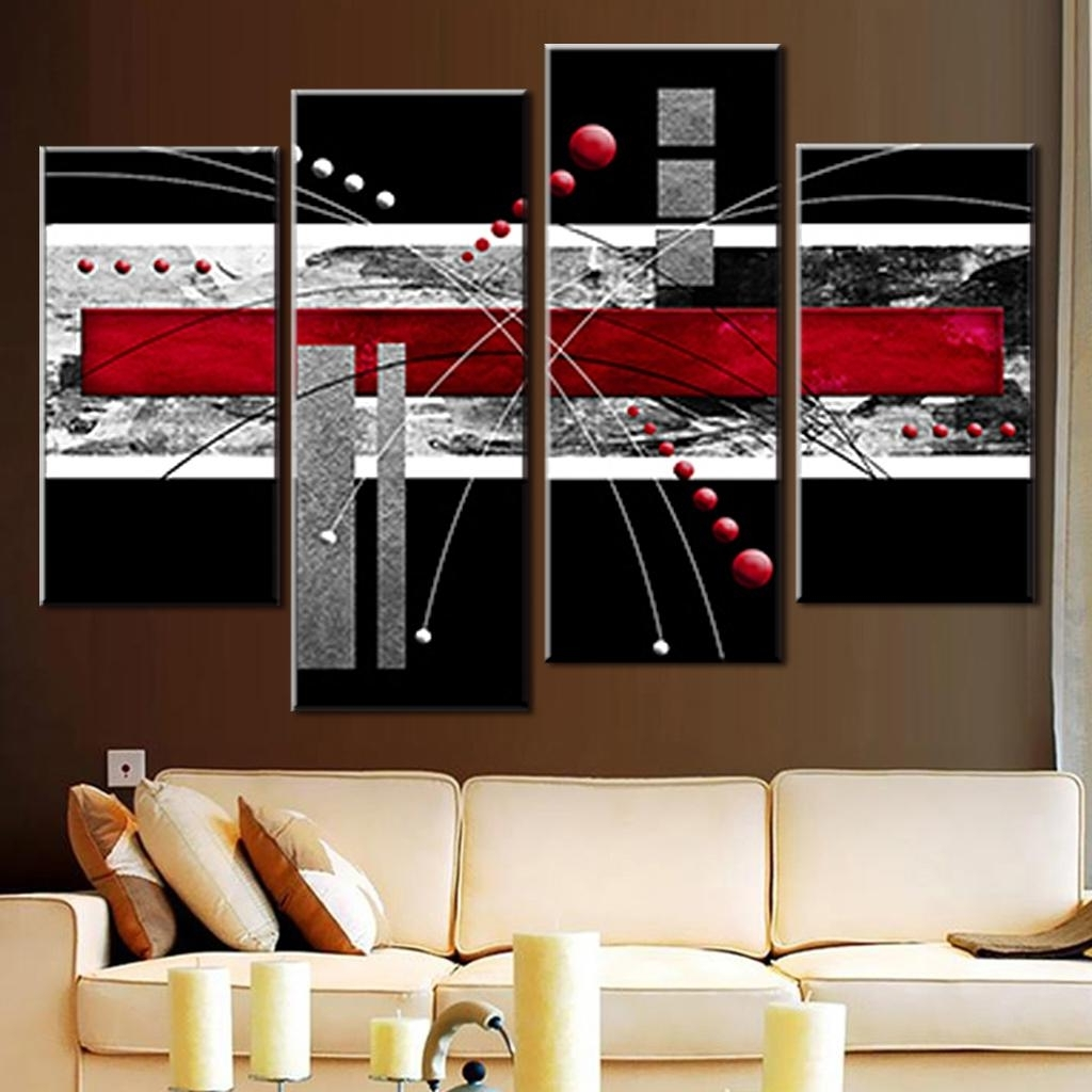 Grey Abstract Canvas Wall Art Within Popular 4 Pcs/set Canvas Wall Art Picture Red Black Grey Combined Canvas (View 7 of 15)