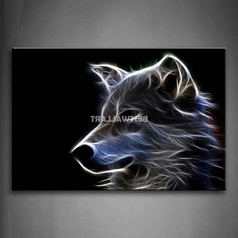 Grey Wolf 4 Piece Painting On Canvas Wall Art Picture Print Animal Regarding Newest Animal Canvas Wall Art (View 7 of 15)