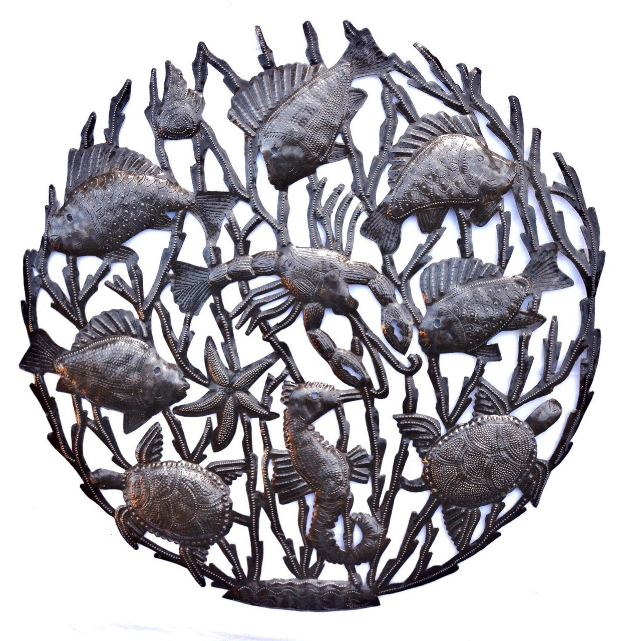 Haiti Metal Art, Indoor And Outdoor Patio Yard Art, Sea Life Wall For Preferred Hammered Metal Wall Art (View 4 of 15)