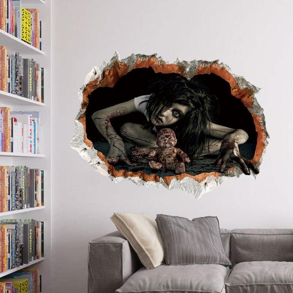 Halloween 3D Wall Sticker Horror Girlghost Wall Decal For Living Room Regarding Most Current Space 3D Vinyl Wall Art (View 7 of 15)