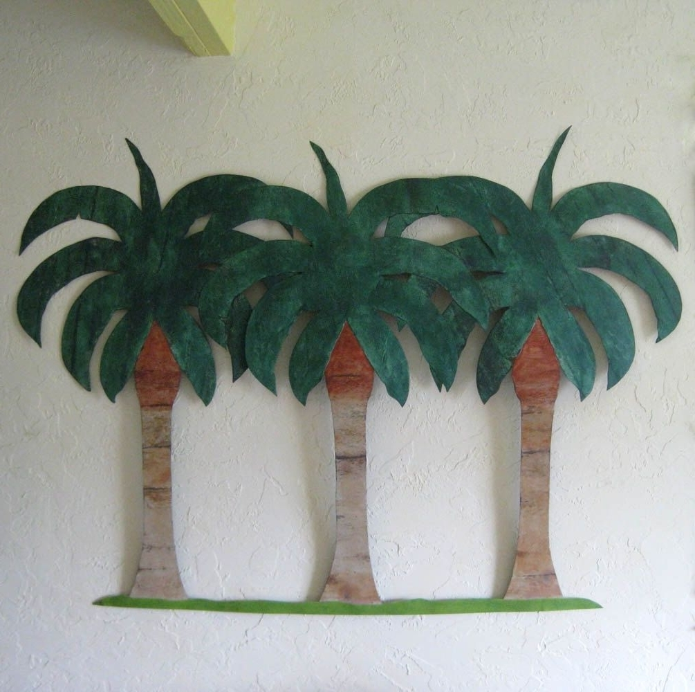 Hand Crafted Handmade Upcycled Metal Extra Large Palm Tree Wall In Trendy Palm Tree Metal Wall Art (Gallery 6 of 15)