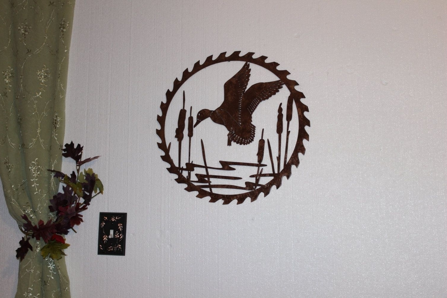 Hand Made Duck In Reeds On Sawblade Metal Wall Art Country Rustic Pertaining To Most Up To Date Country Metal Wall Art (View 5 of 15)