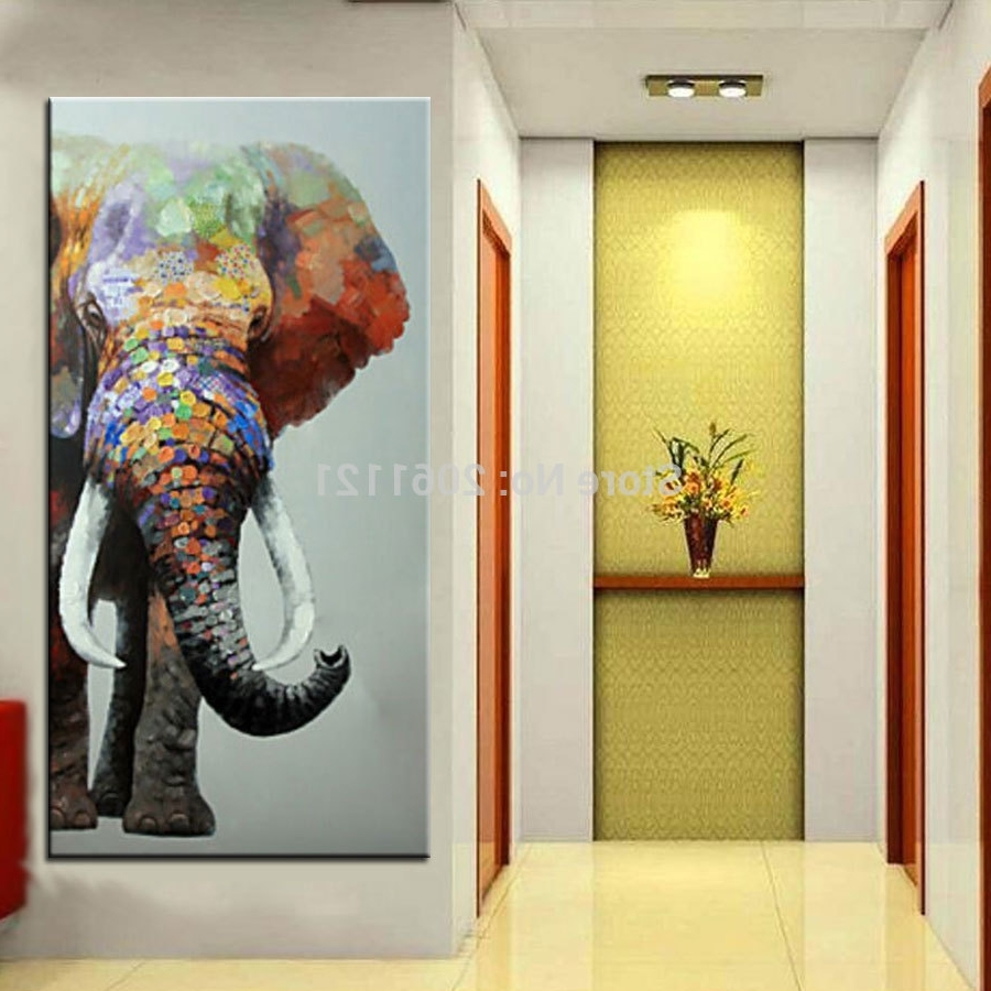 Hand Painted Large Big Elephant Wall Art Abstract Textured Within Best And Newest Abstract Elephant Wall Art (View 9 of 15)