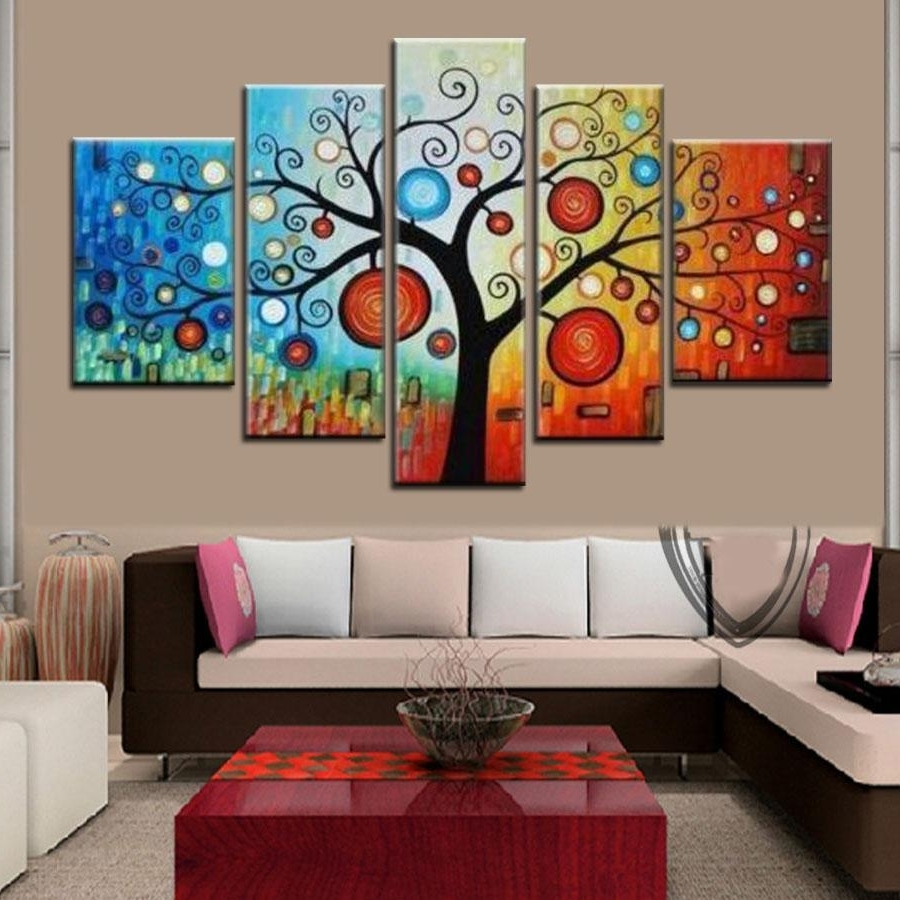 Hand Painted Modern Abstract Apple Tree Oil Painting On Canvas Inside Newest Cheap Wall Canvas Art (View 6 of 15)