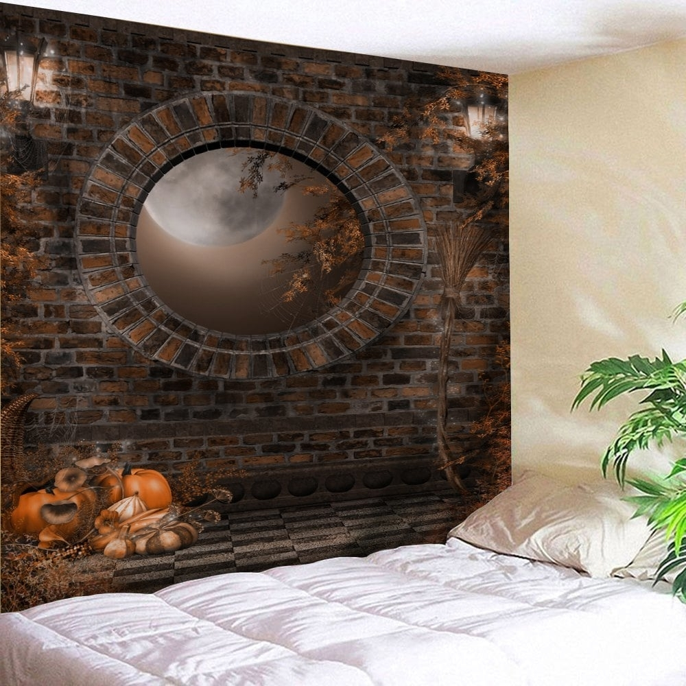 Hanging Wall Art For Brick Wall With 2017 2018 Halloween Brick Wall Print Tapestry Wall Hanging Art Brown W (View 9 of 15)