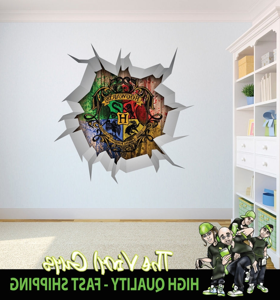 Harry Potter Hogwarts Logo Wall Crack Wall Art Decor 001 Printed Inside Favorite Tmnt Wall Art (Gallery 1 of 15)