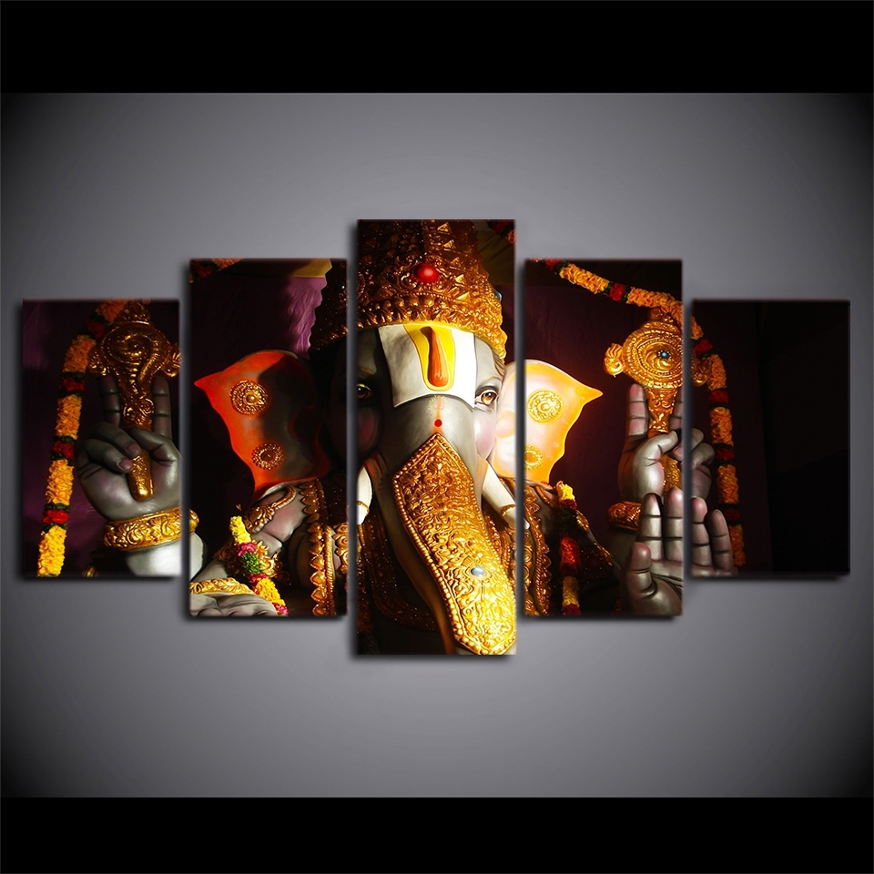 Hd Print 5Pcs Wall Art Pictures Home Decor Art Ganesha Poster With Regard To Most Current Ganesh Wall Art (Gallery 9 of 15)