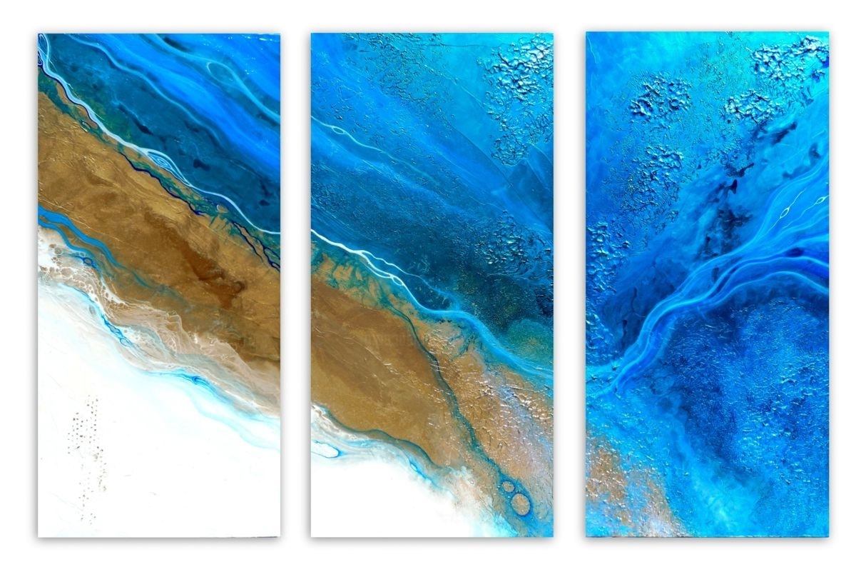 Healing Waters Triptych (holly Anderson) For Most Current Abstract Beach Wall Art (View 6 of 15)