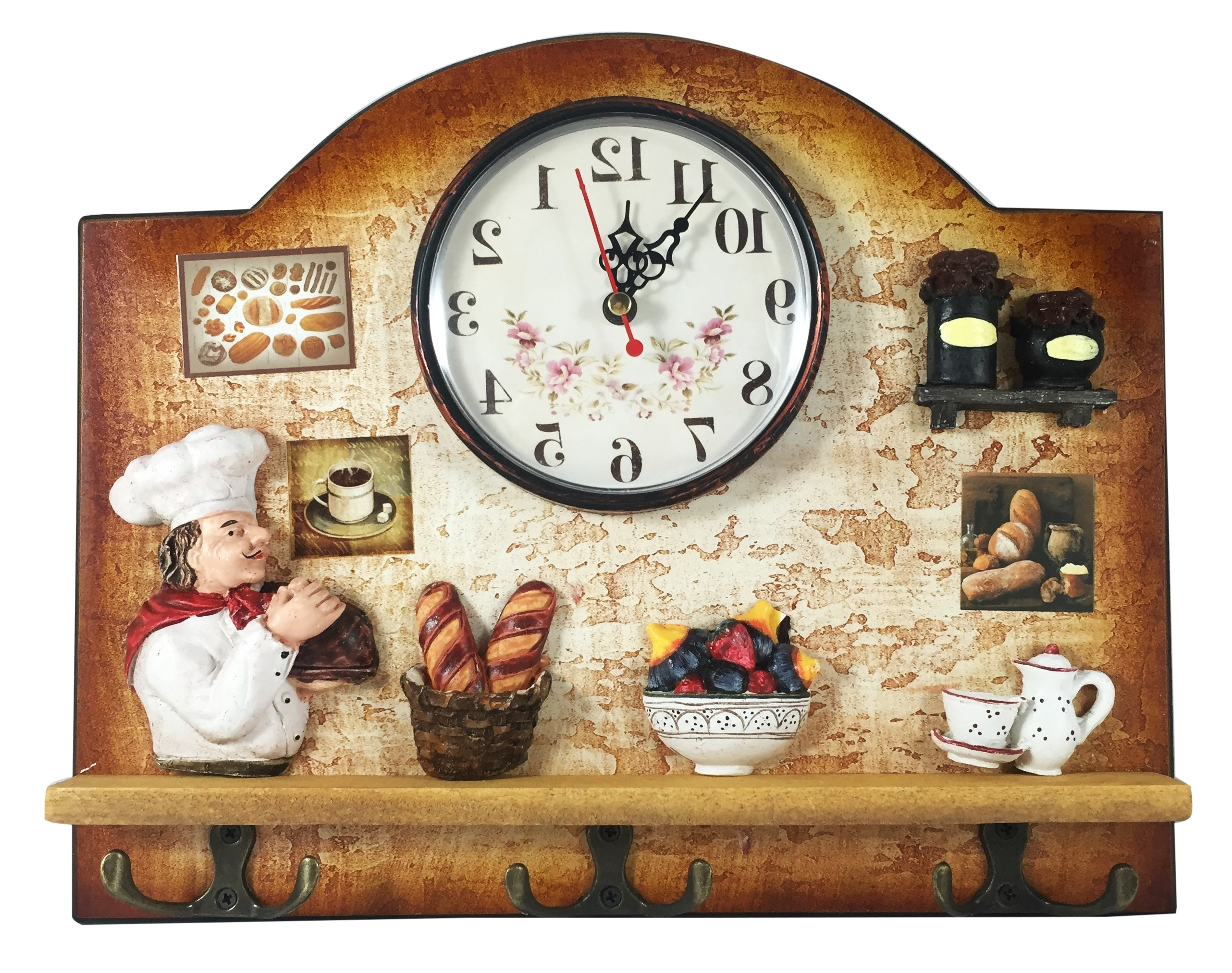Heartful Home Italian Chef Wall Decor Clock With Key Holder Hooks For Most Recently Released Italian Chef Wall Art (Gallery 1 of 15)