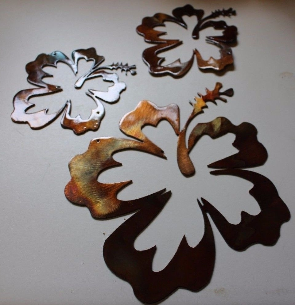 Hibiscus Flower Tropical 3 Piece Set/trio With Well Liked Hawaiian Metal Wall Art (Gallery 1 of 15)