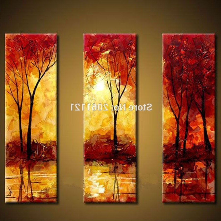 High Quality Abstract Tree Painting 3 Piece Red Yellow Canvas With Most Recently Released Red And Yellow Wall Art (View 7 of 15)