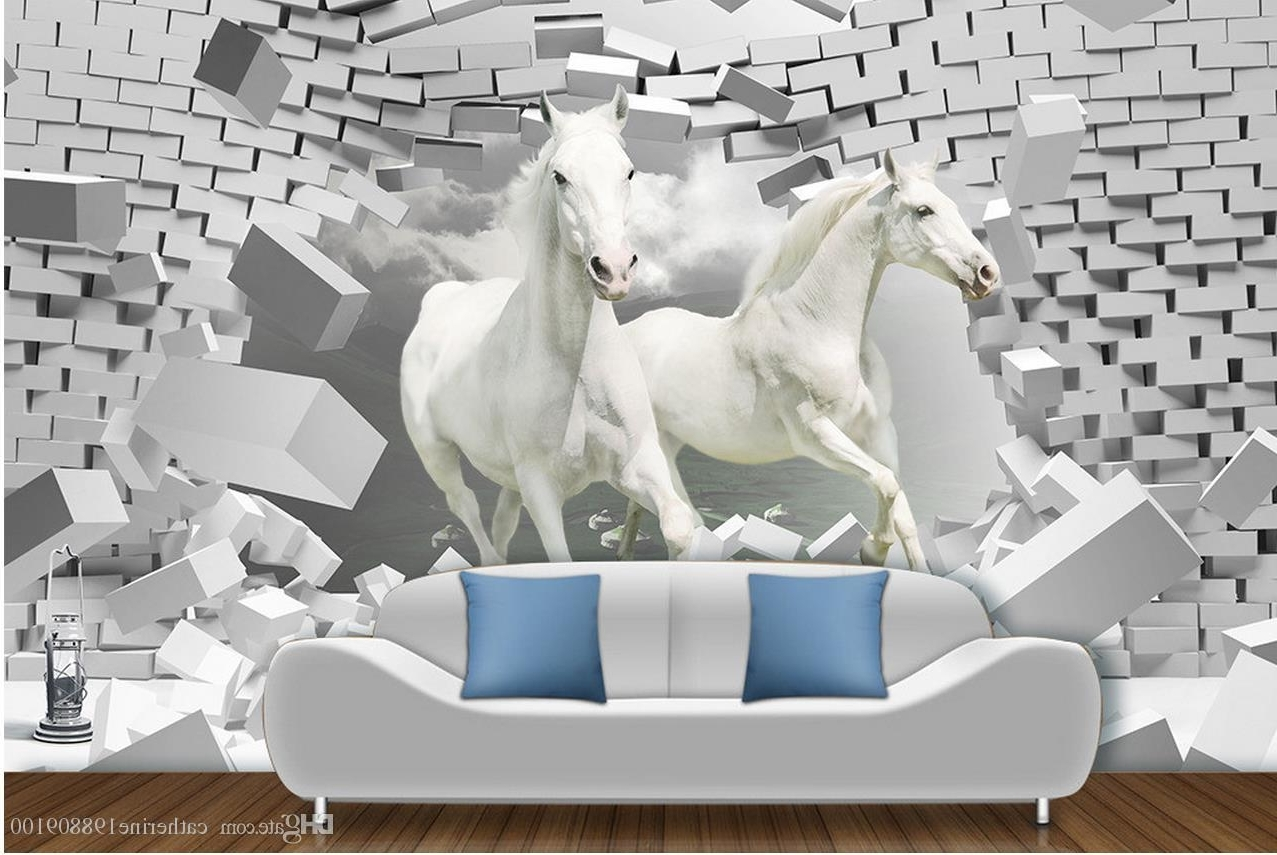 High Quality Customize Size Modern Horse 3D Creative Space For Well Known 3D Horse Wall Art (View 11 of 15)