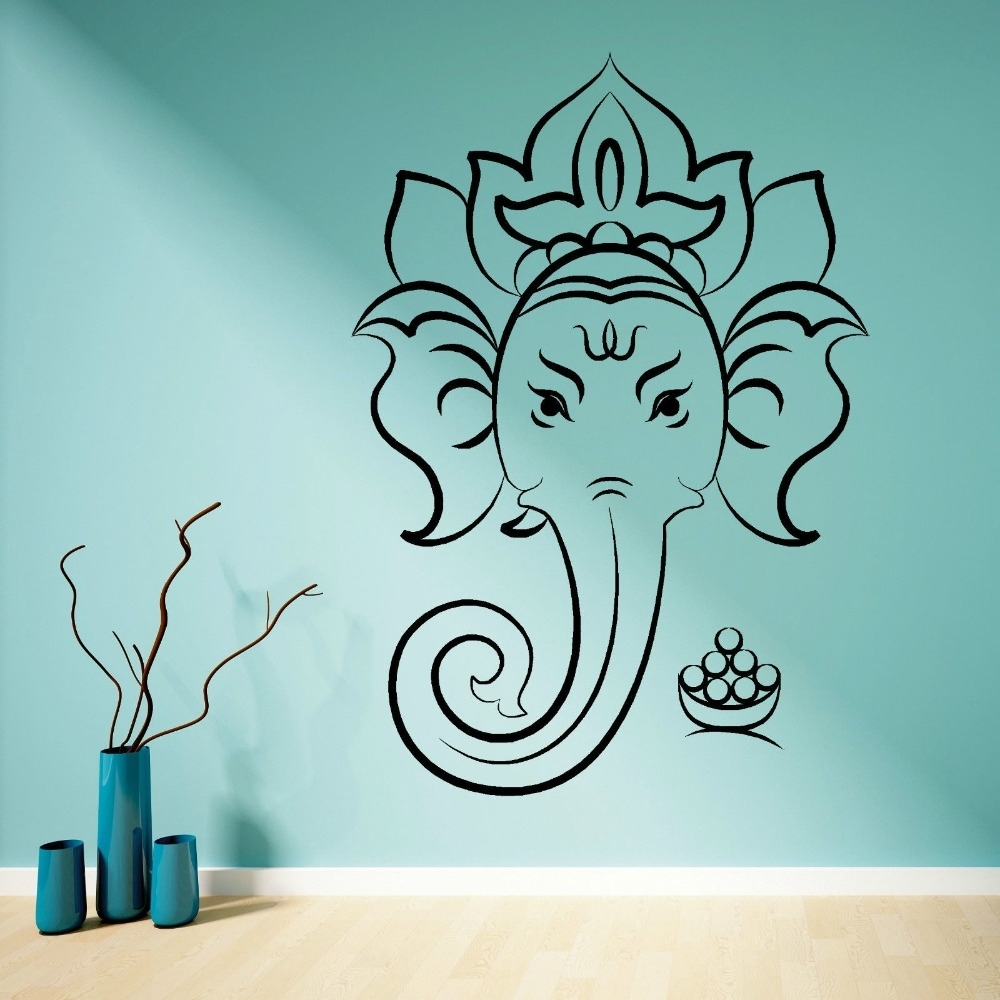 Hindu God Ganesha Ganesh Vinilo Adhesivo Mural Home Decoration In Latest Ganesh Wall Art (Gallery 2 of 15)