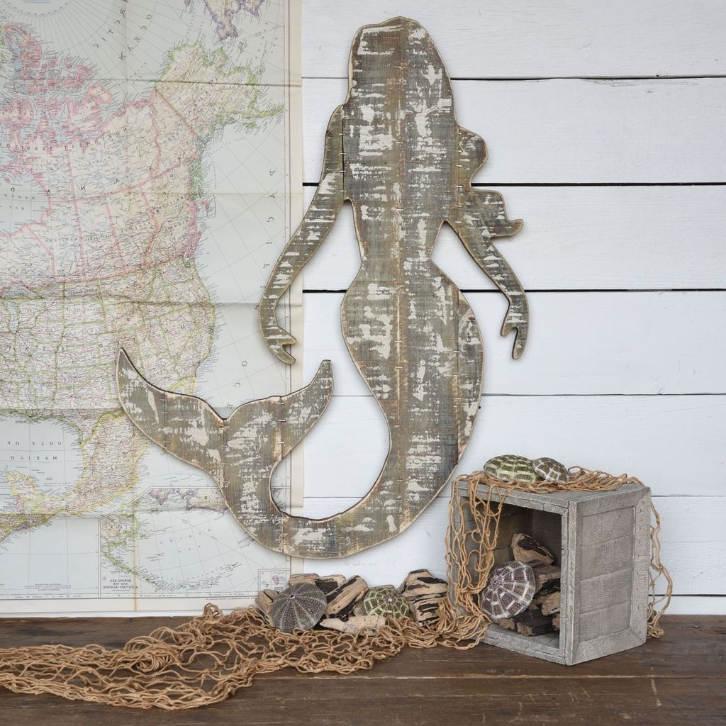 Homart Wood Slat Sealife Mermaid Wall Art – Areohome With Regard To Newest Mermaid Wood Wall Art (View 10 of 15)