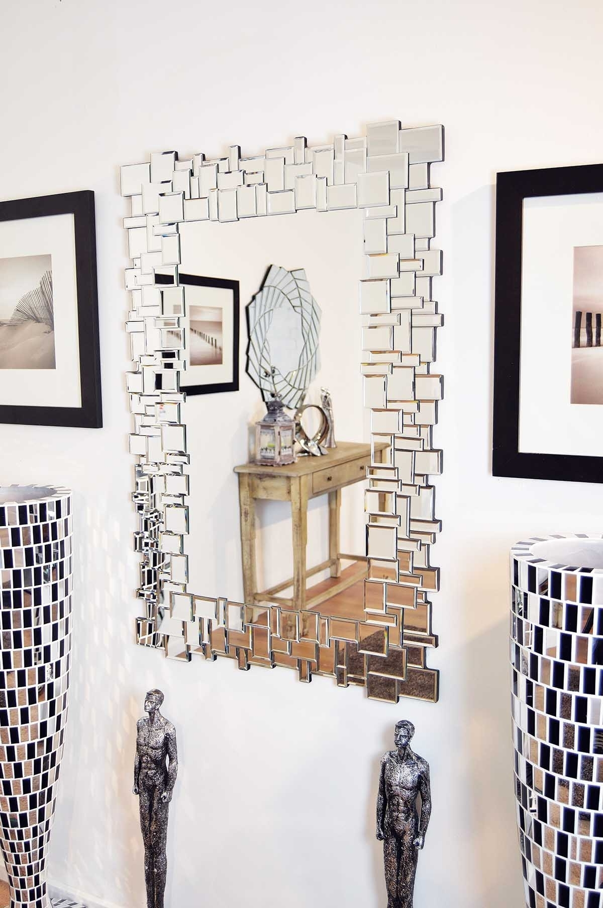 Home Decor: Glass Frame Large Wall Mirror And Wall Art With In Recent Mirrors Modern Wall Art (View 6 of 15)
