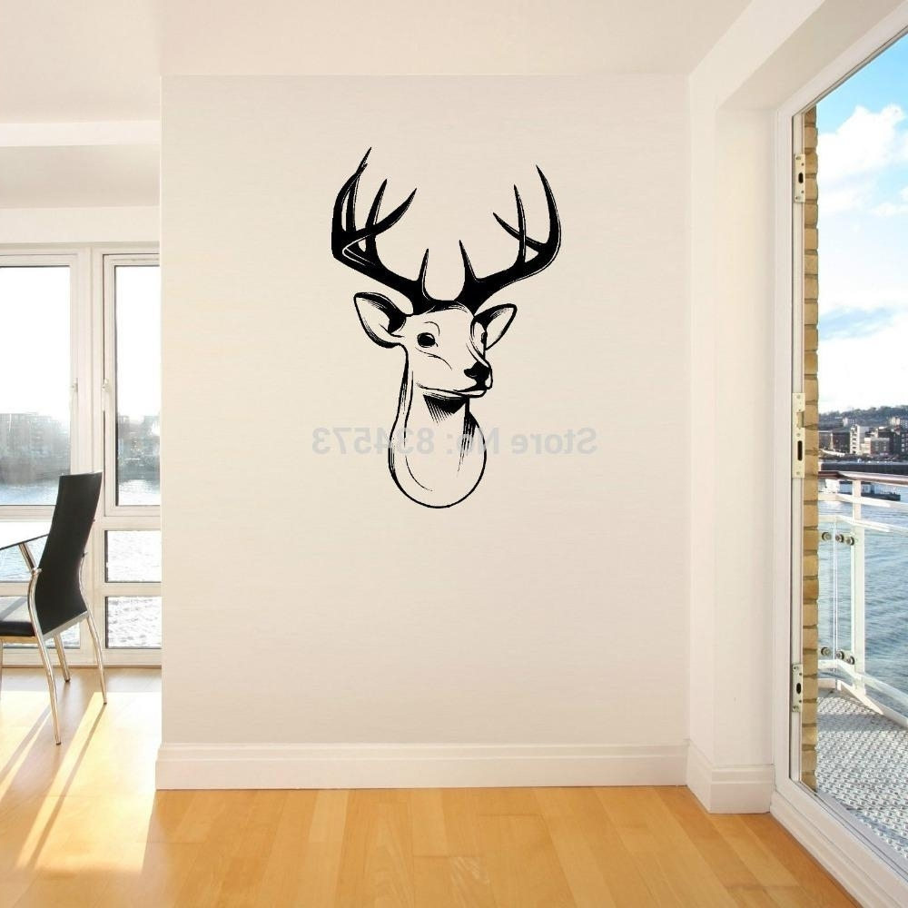 Home Decor Wall Sticker Stags Head Deer Trophy Antlers Steer Wall Within Popular Wall Cling Art (View 3 of 15)