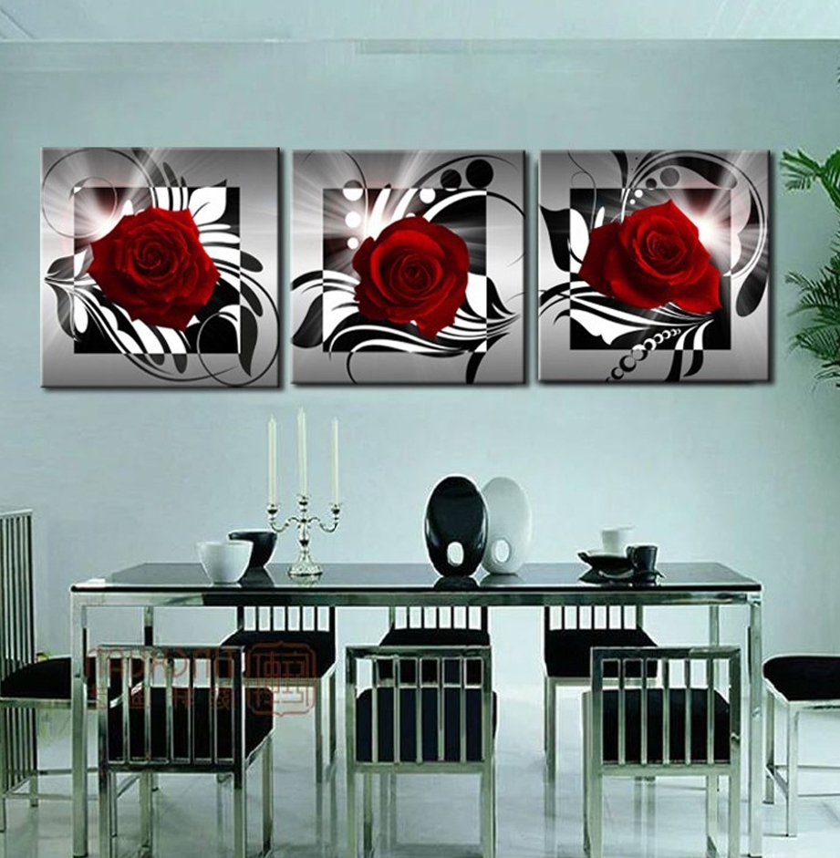 Home Decoration 3 Piece Canvas Wall Pictures Print Art Oil Inside Well Liked Red Rose Wall Art (View 6 of 15)
