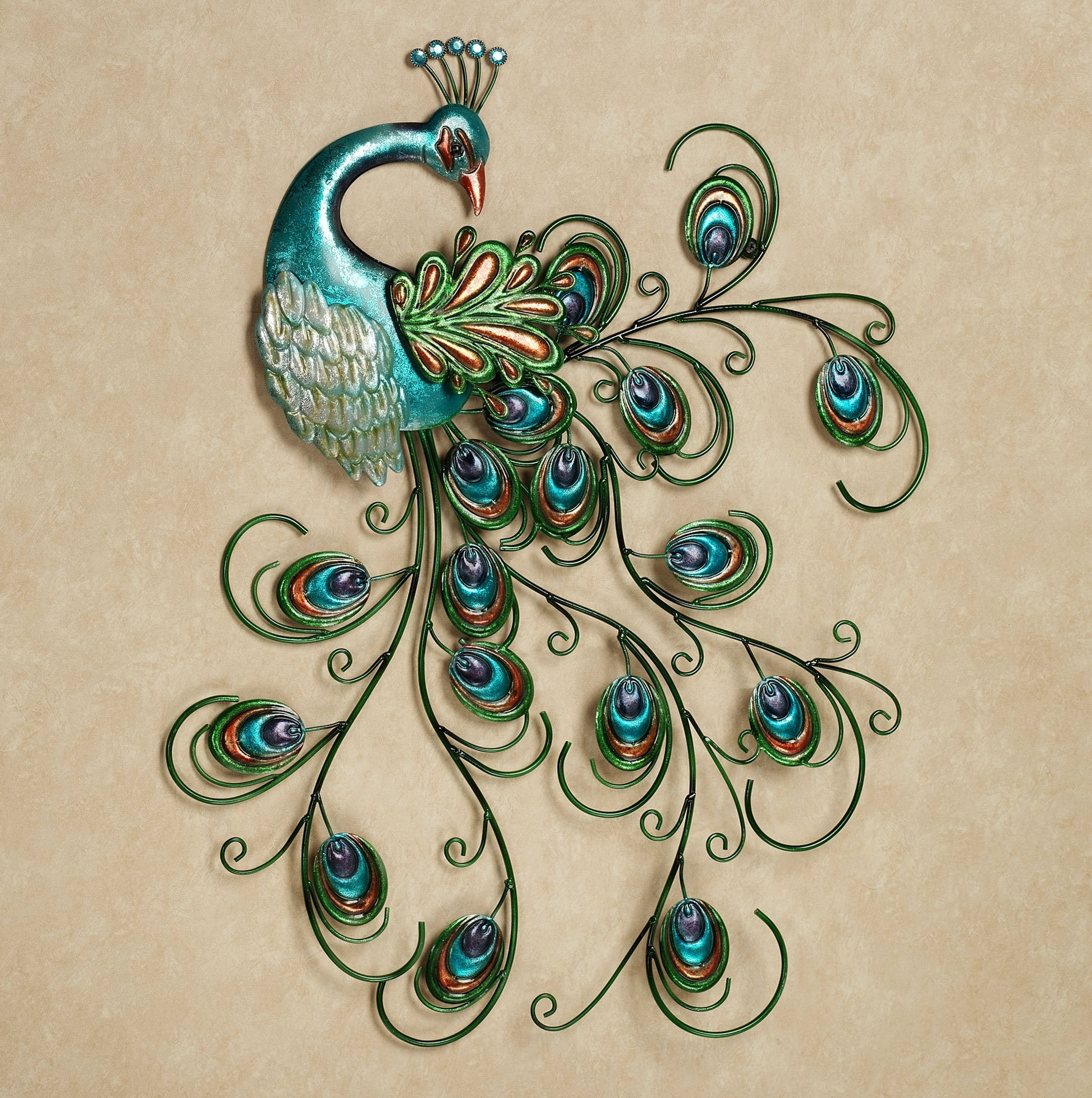 Home design ideas throughout 2017 metal peacock wall art view 6 of 15
