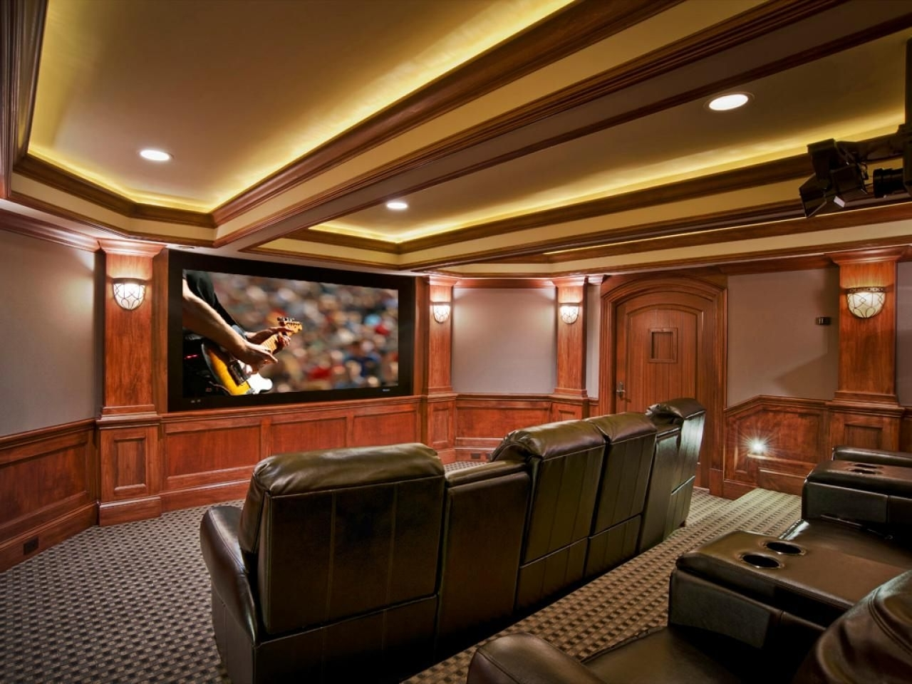 Home Theater Wall Art Inside 2018 Basement Home Theater Brown Color Leather Reclining Chairs Several (View 12 of 15)