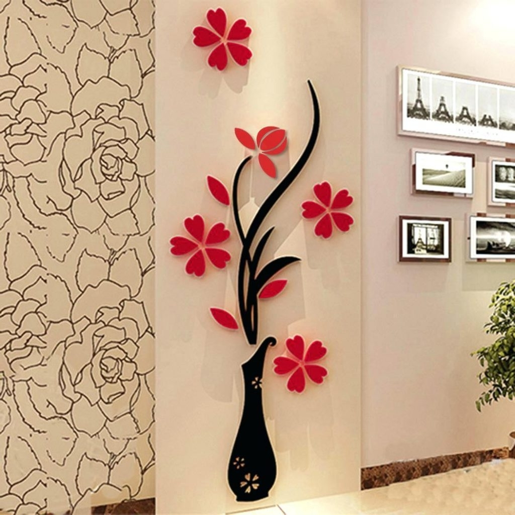 Home Theater Wall Art Pertaining To Widely Used Wall Arts ~ New 1 Pack 3D Diy Floral Wall Decor Stickers Wall Art (View 9 of 15)