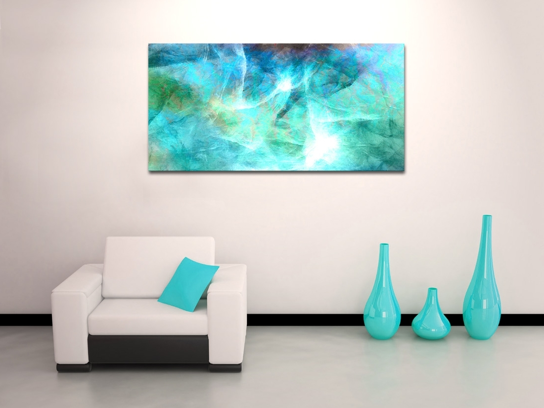 Horizontal Abstract Wall Art With Fashionable Wall Art Design: Abstract Canvas Wall Art Rectangle Green (View 5 of 15)