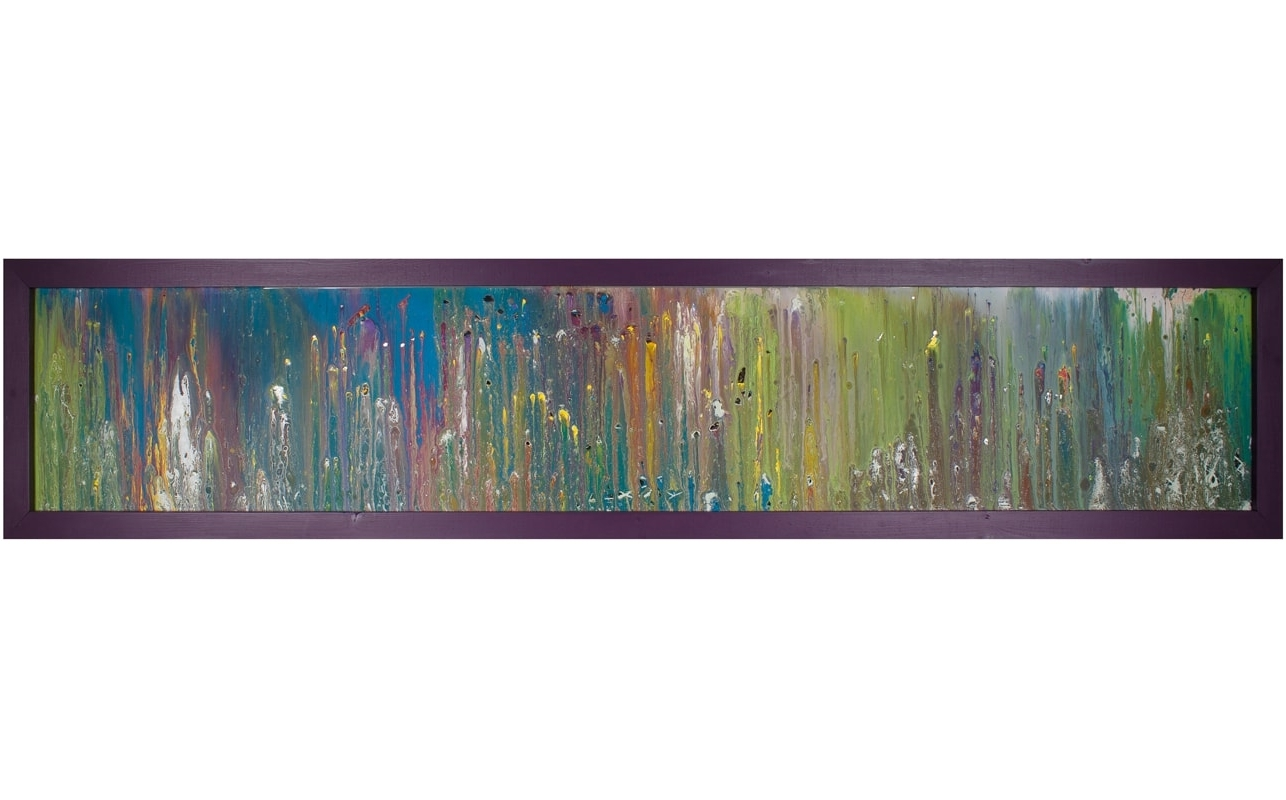 Horizontal Glass Art With Purple Frame (View 3 of 15)