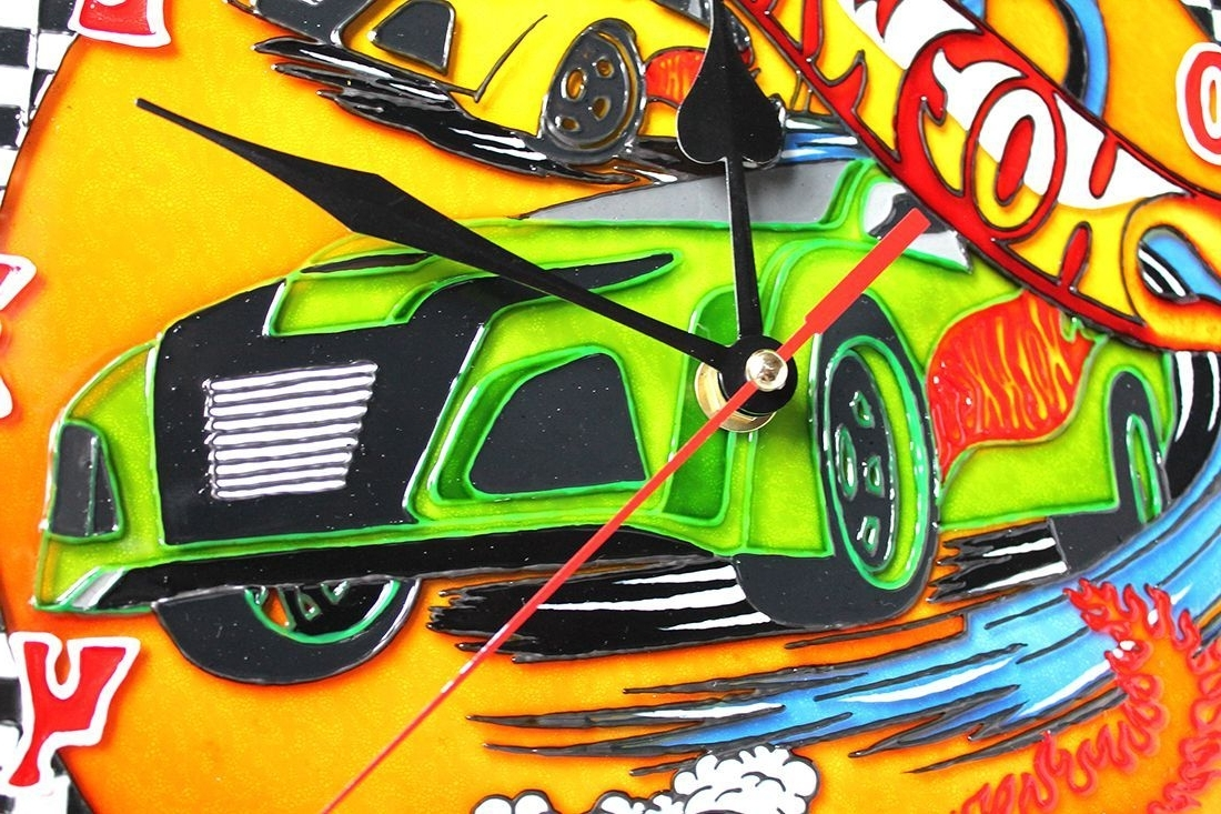 Hot Wheels Wall Art Within Most Current Wall Clock 12 Hours Quartz Stained Glass Paint Hot Wheels Bedroom (View 4 of 15)