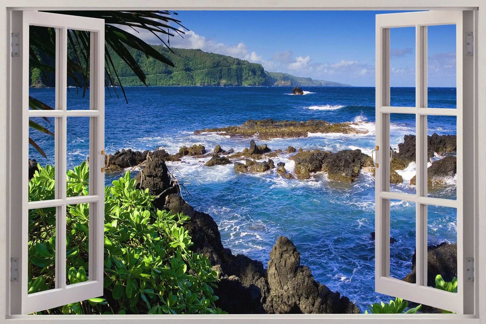 Huge 3d Window Exotic Beach View Wall Stickers Film Mural Art Pertaining To Favorite Beach 3d Wall Art (View 13 of 15)