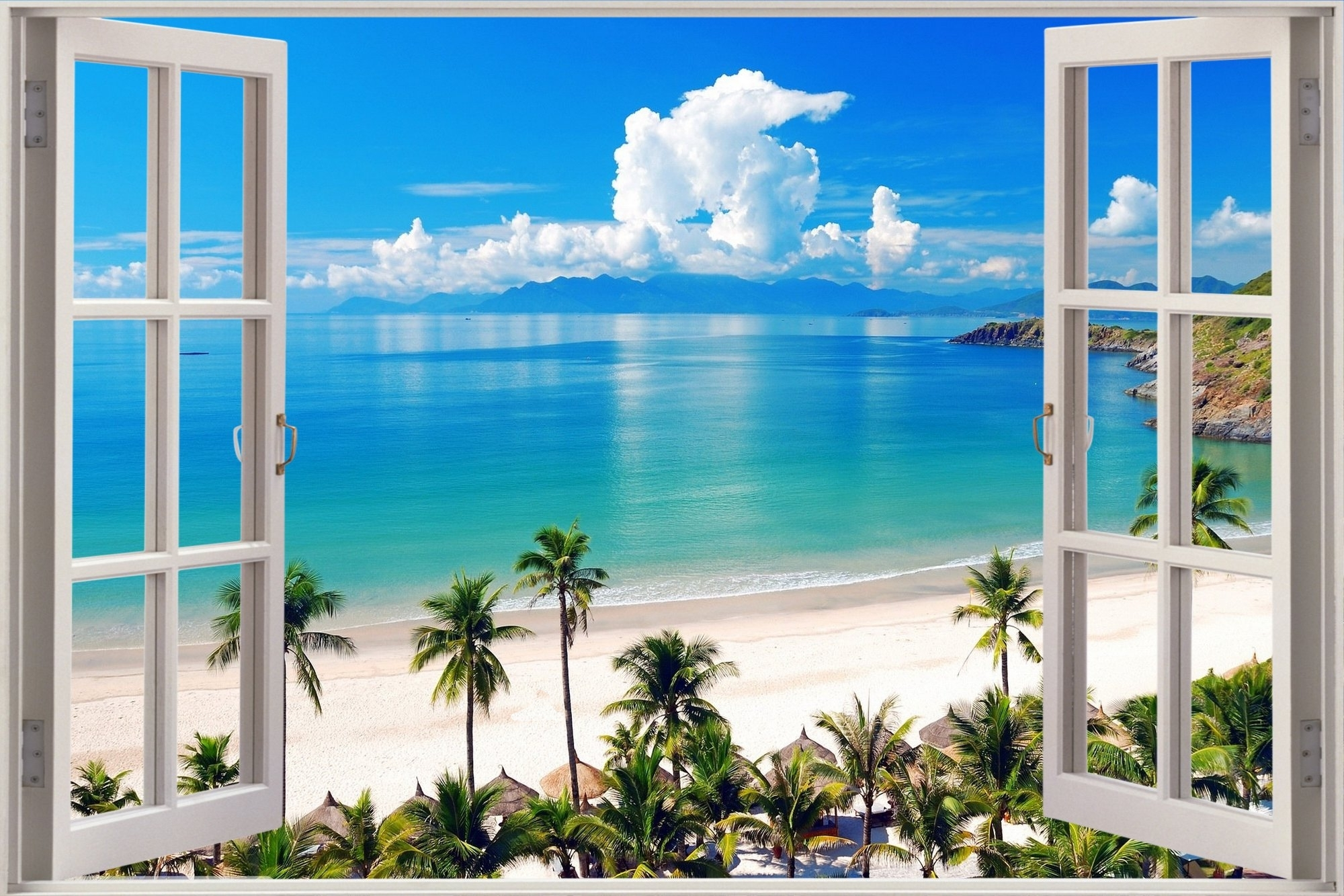 Huge 3d Window View Exotic Ocean Beach Wall Sticker Film Art Decal Throughout 2018 Beach 3d Wall Art (View 11 of 15)