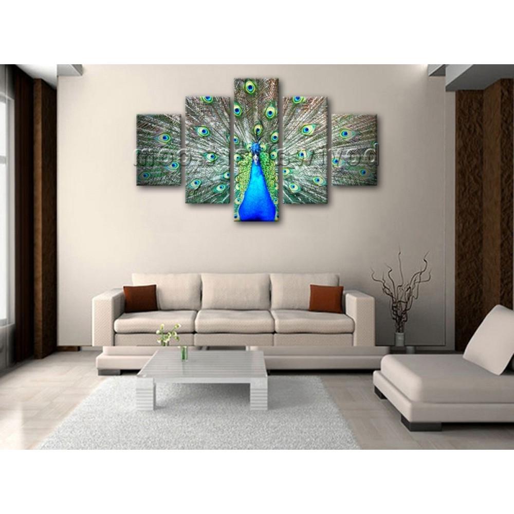 Huge Photo Print Wall Art Design Peacock Bird 5 Panels Home Decor Throughout Well Known Abstract Bird Wall Art (Gallery 8 of 15)