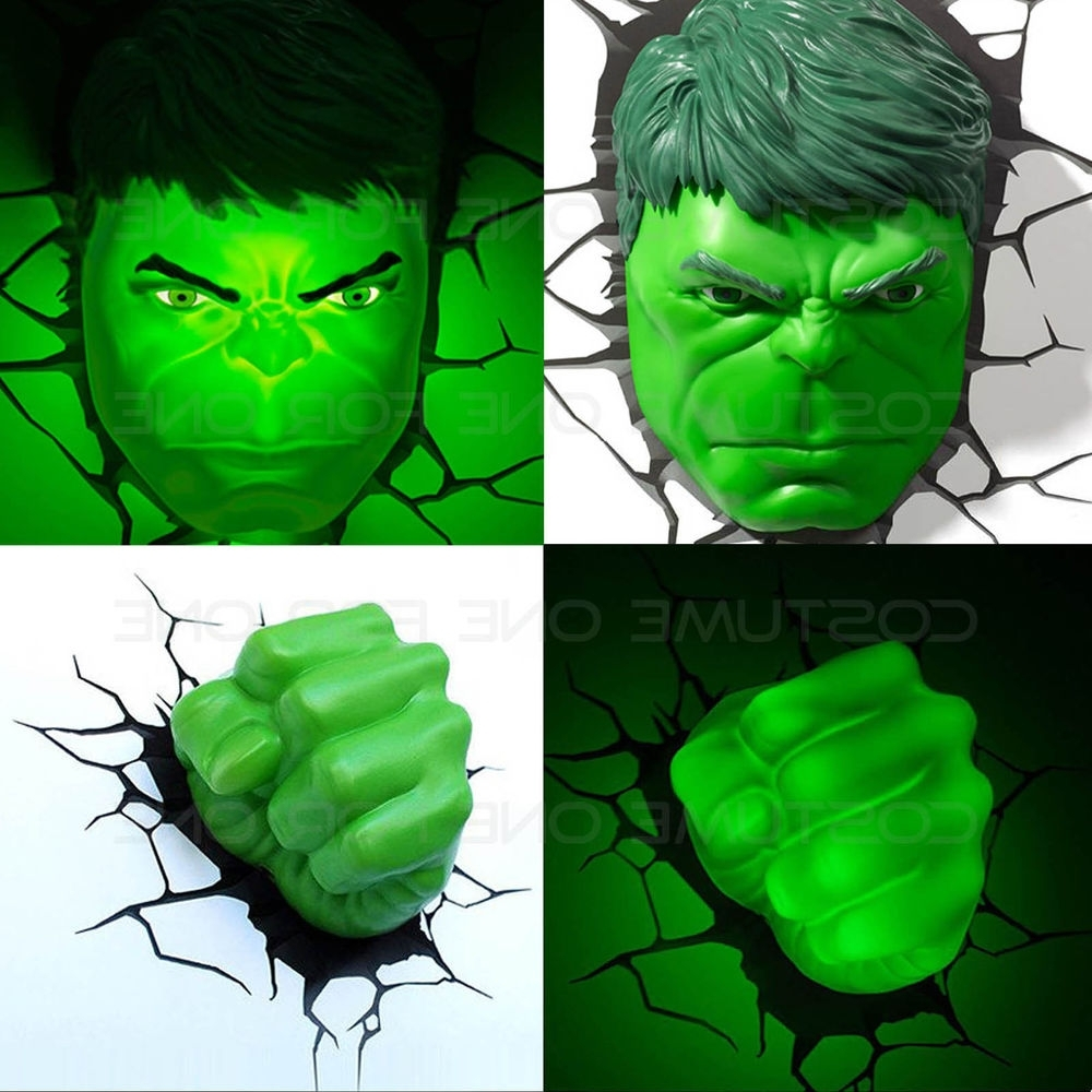 Hulk Hand 3D Wall Art With Regard To Latest Marvel Avengers Hulk Face/head & Fist 3D Deco Wall Led Night Light (Gallery 5 of 15)