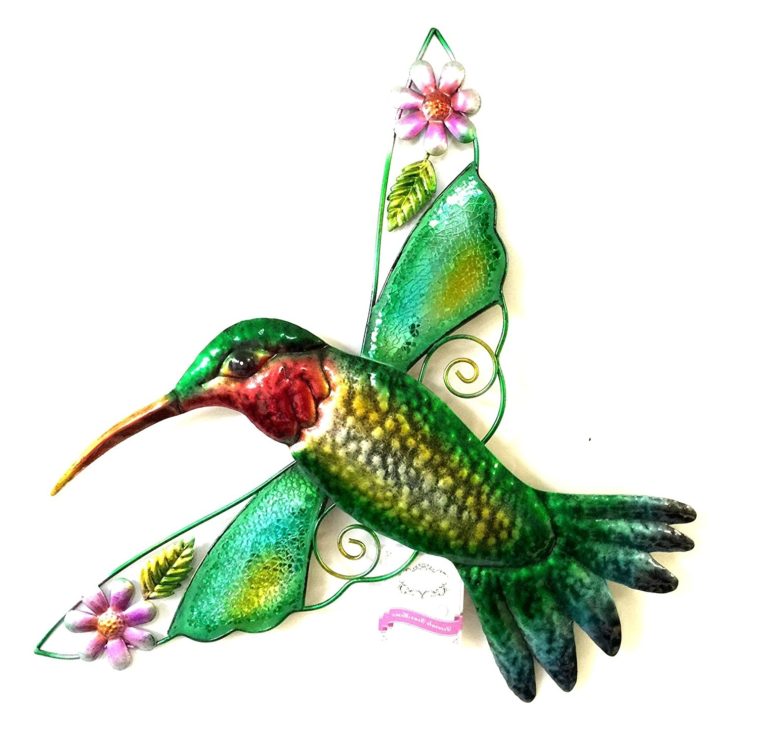 Hummingbird Metal Wall Art For Most Recent Amazon : Bejeweled Display Hummingbird W/ Glass Wall Art (View 9 of 15)