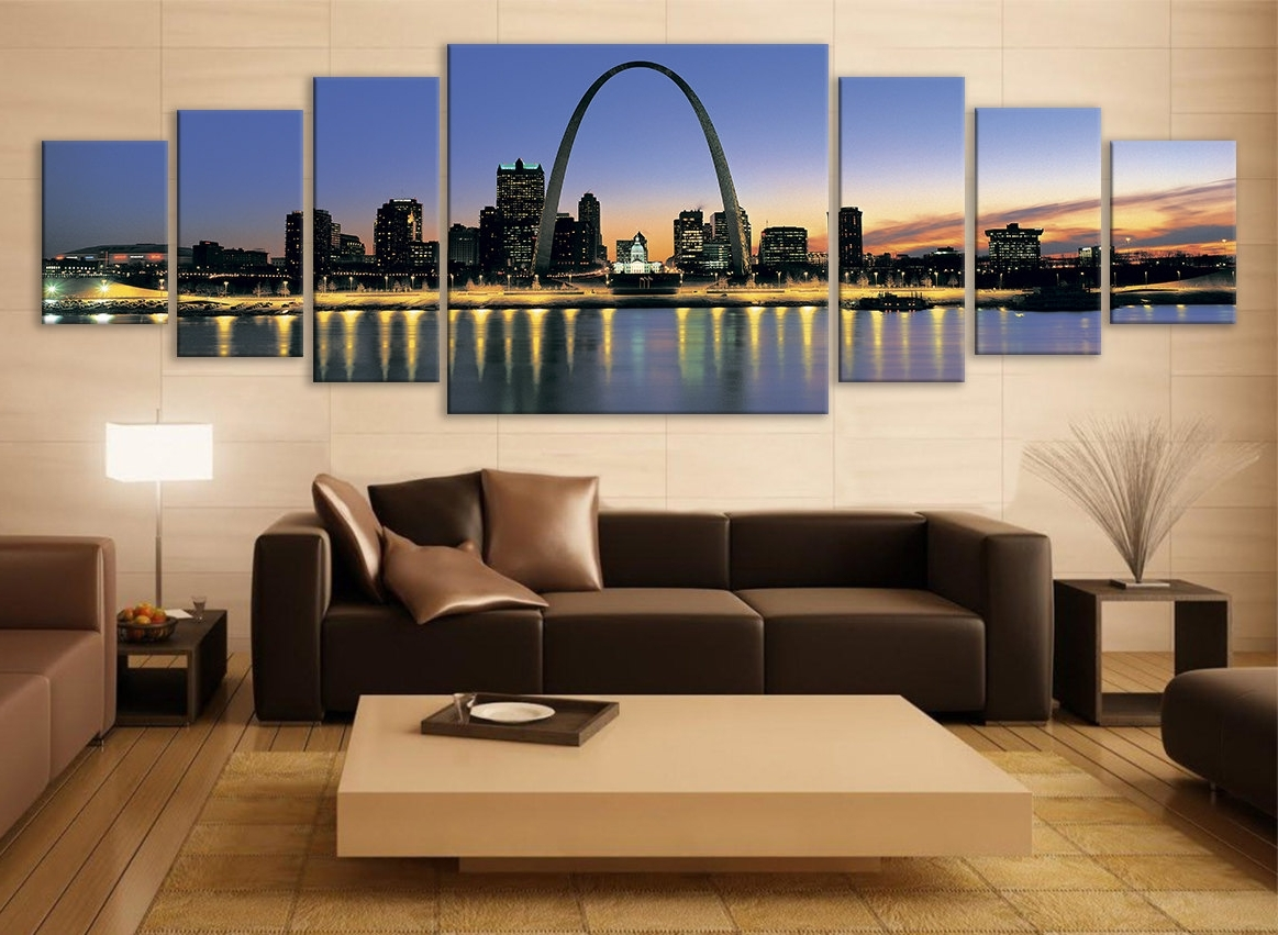 Illinois Cityscape Canvas Art Multi Panel Print Modern Art Wall Inside 2017 Multi Panel Canvas Wall Art (Gallery 7 of 15)