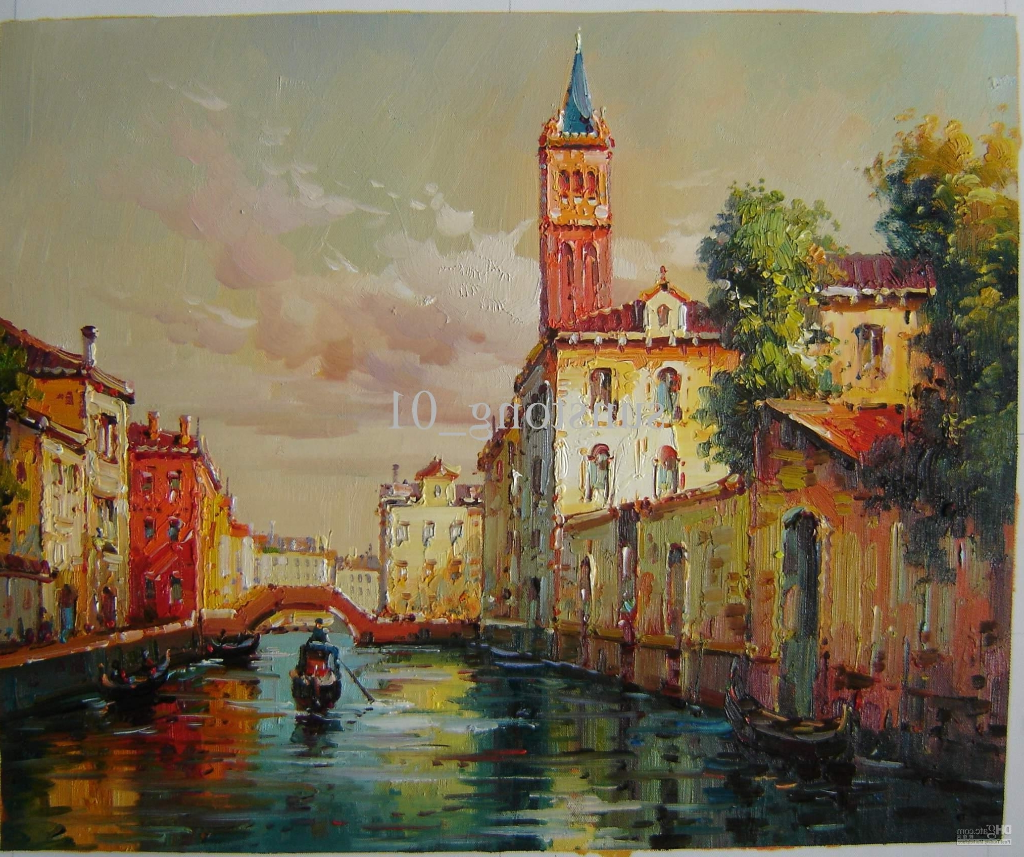Impression Vinice Oil Painting Vinice Scenery Oil Painting Home In Widely Used Italian Scenery Wall Art (View 4 of 15)