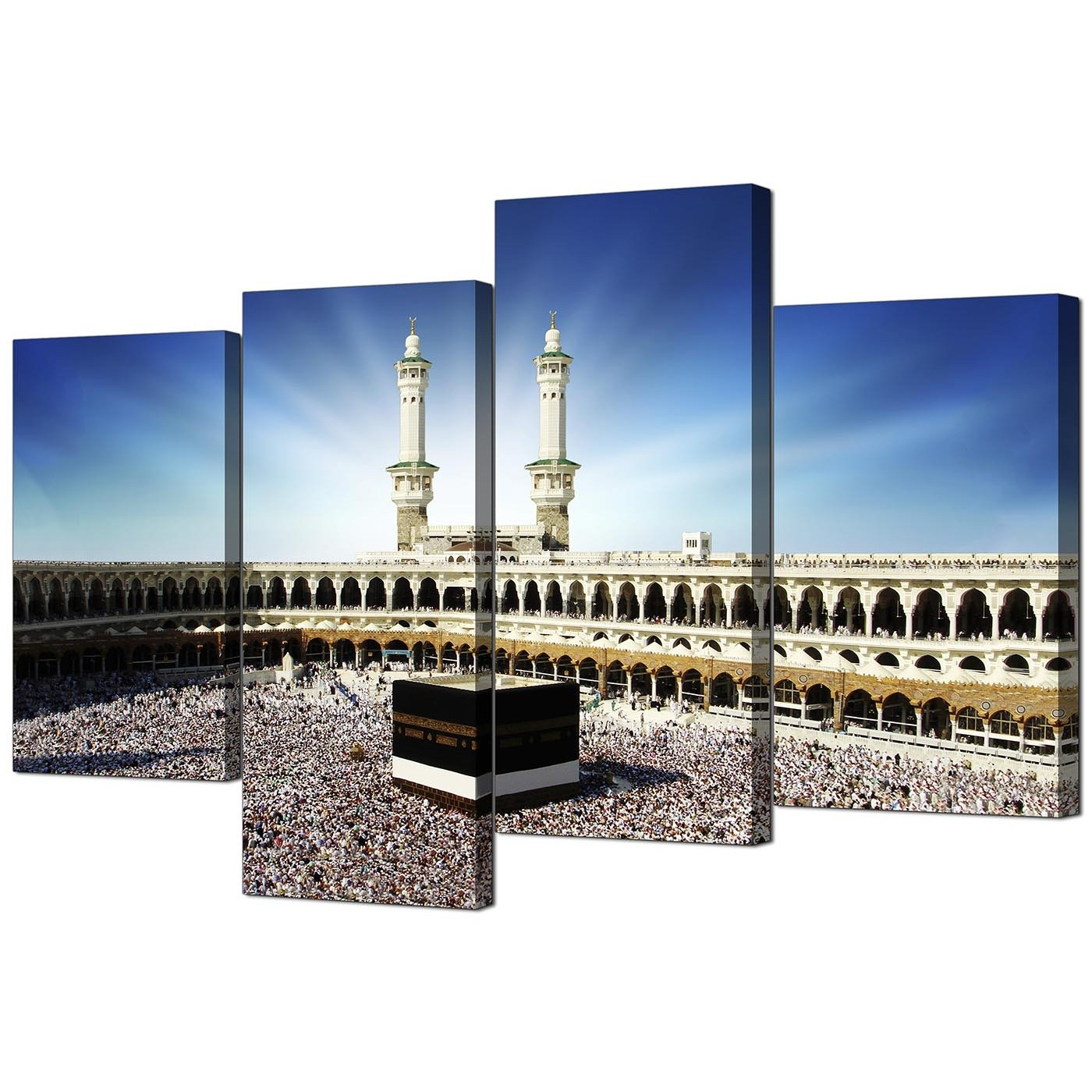 Inexpensive Canvas Wall Art Pertaining To Fashionable Islamic Canvas Wall Art Of Kaaba Hajj In Mecca For Muslims – Set Of 4 (Gallery 13 of 15)