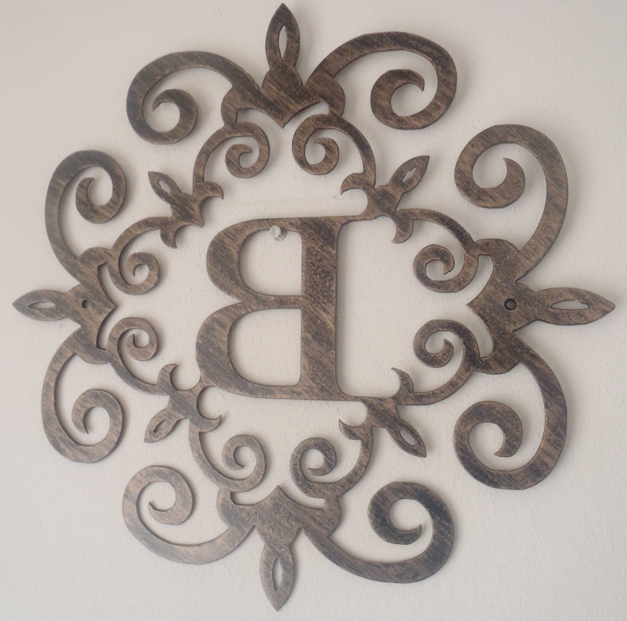 Iron Scroll Wall Art With Recent Family Initial, Monogram Inside A Metal  Scroll With B
