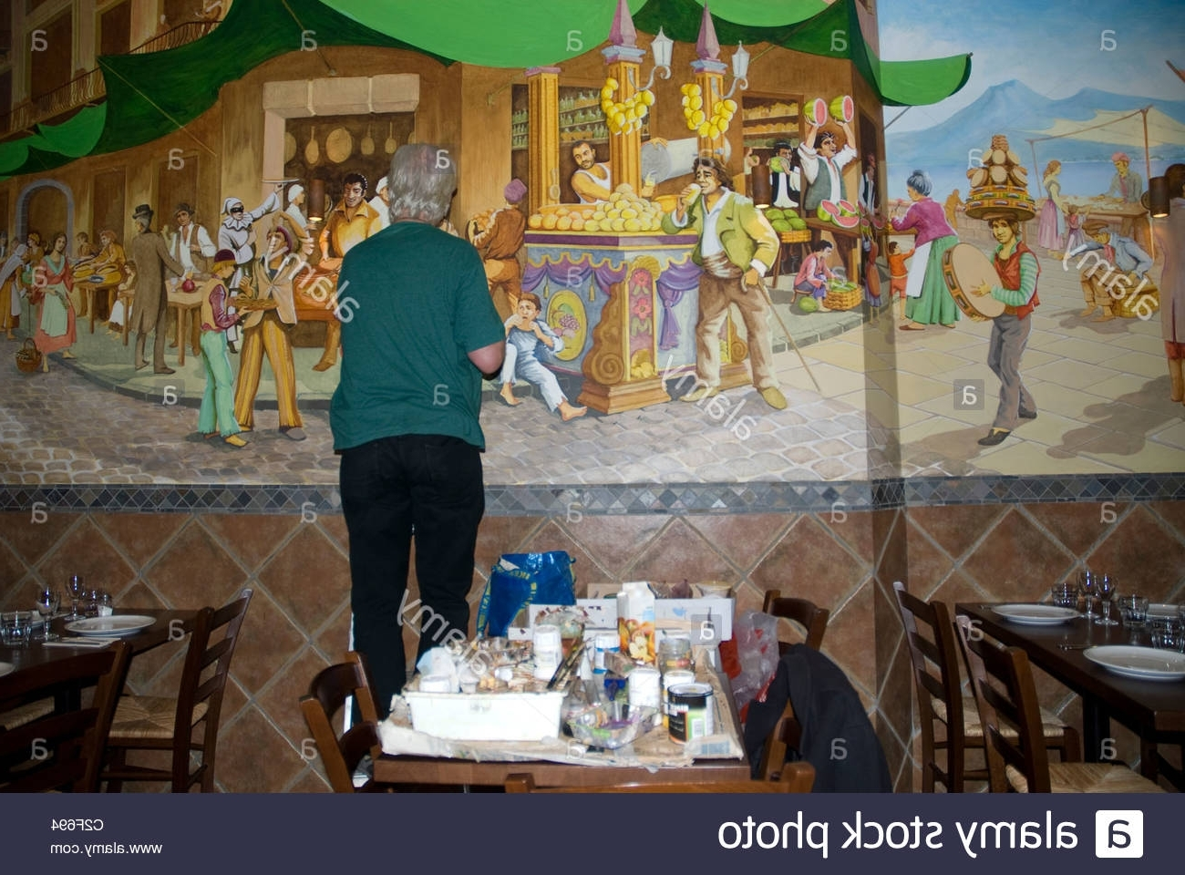 Italian Art Wall Murals For Trendy Artist Painting Mural On The Wall Of An Italian Restaurant Notting (View 1 of 15)