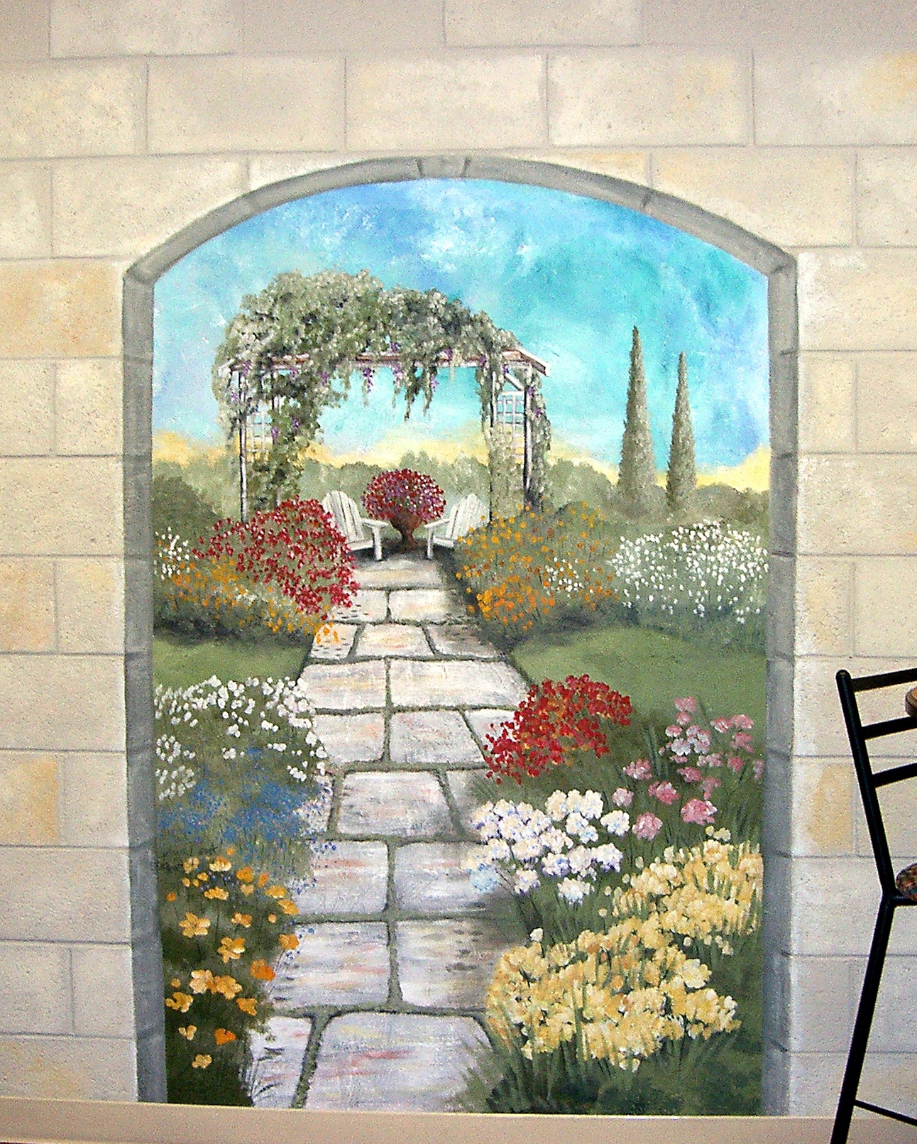 Italian Art Wall Murals In Well Liked Garden Mural On A #cement Block Wall Colorful Flower Garden Mural (Gallery 13 of 15)