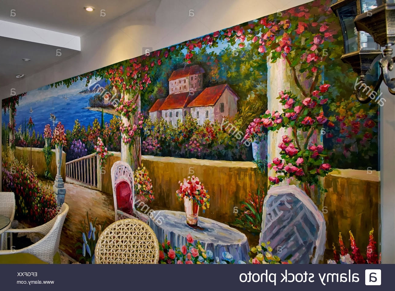Italian Art Wall Murals Intended For Latest Italian Restaurant Interior With Feature Colourful Wall Mural Of (Gallery 3 of 15)
