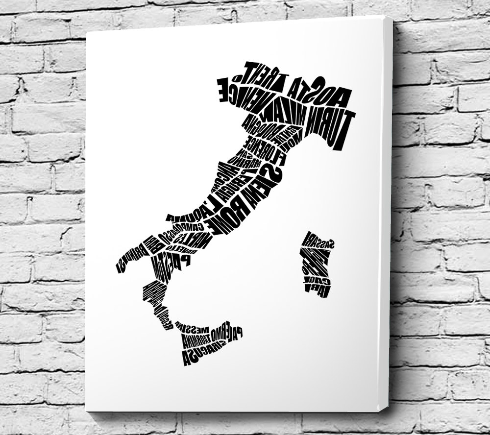 Italian Cities Wall Art In Newest Italy Word Map – A Typographic Word Map Of Italian Cities, Home (View 4 of 15)