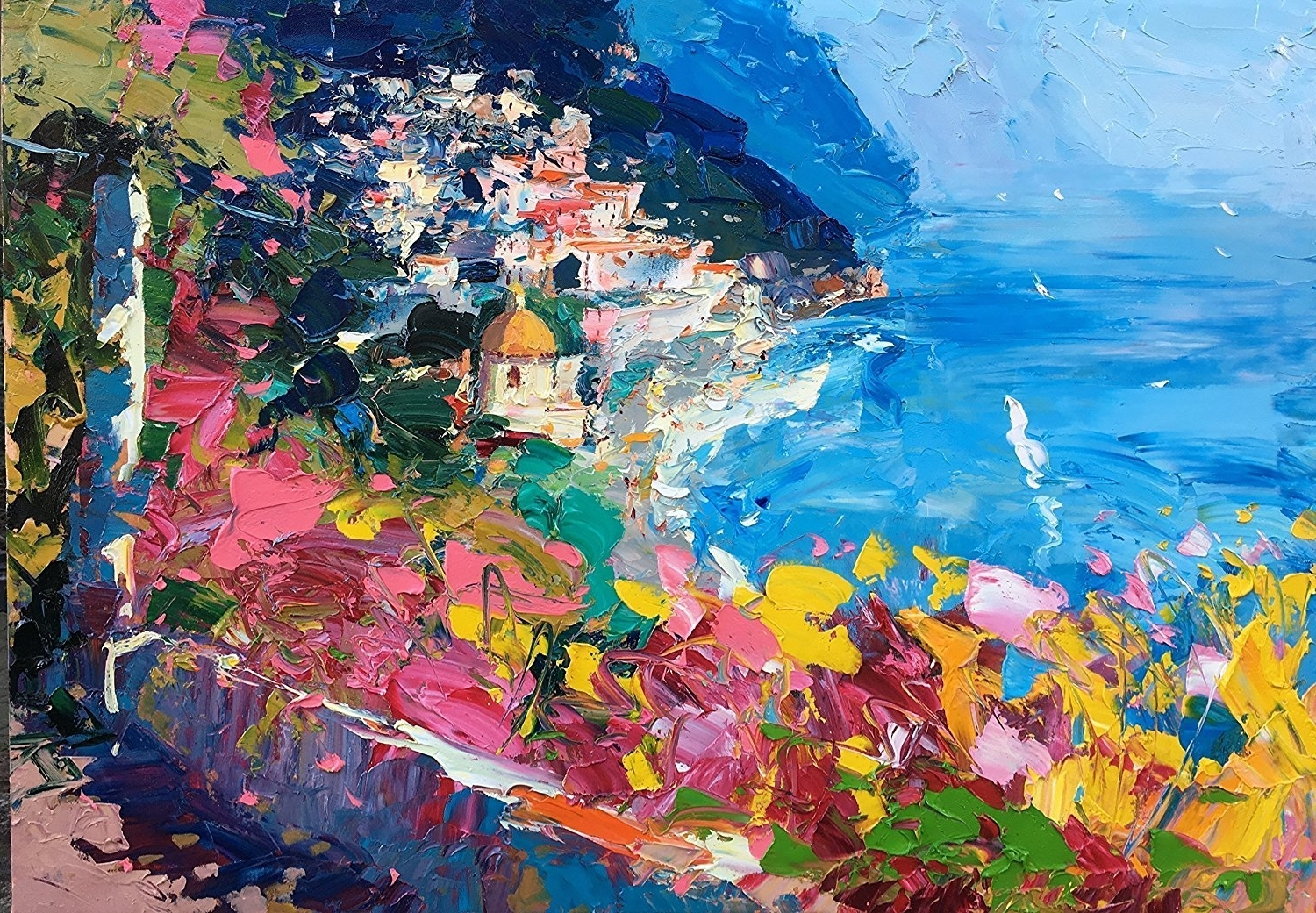 Italian Coast Wall Art In 2018 Amazon: Seascape Positano Amalfi Coast Italy Canvas And Paper (Gallery 12 of 15)