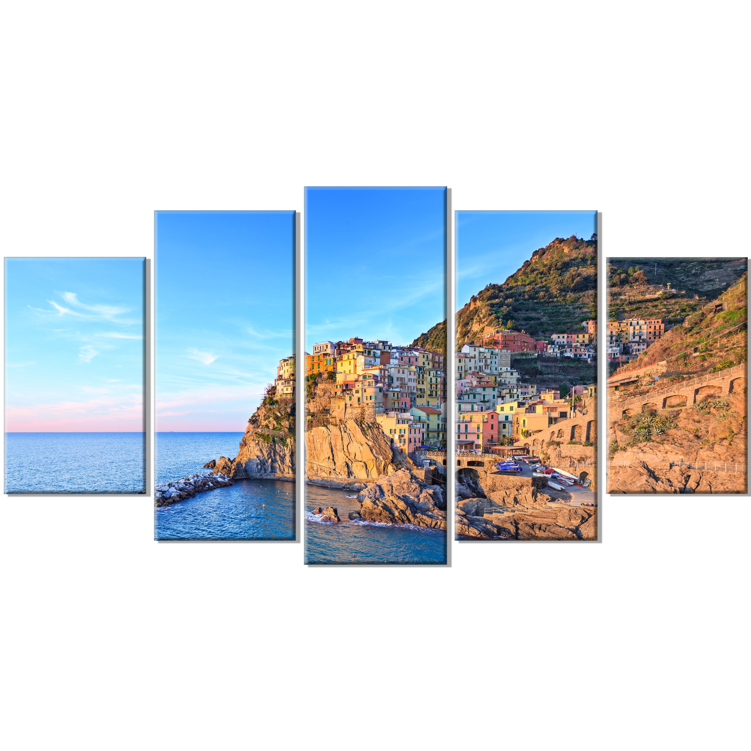 Italian Coast Wall Art Regarding Well Known Designart 'manarola Village Cinque Terre Italy' 5 Piece Wall Art (Gallery 13 of 15)