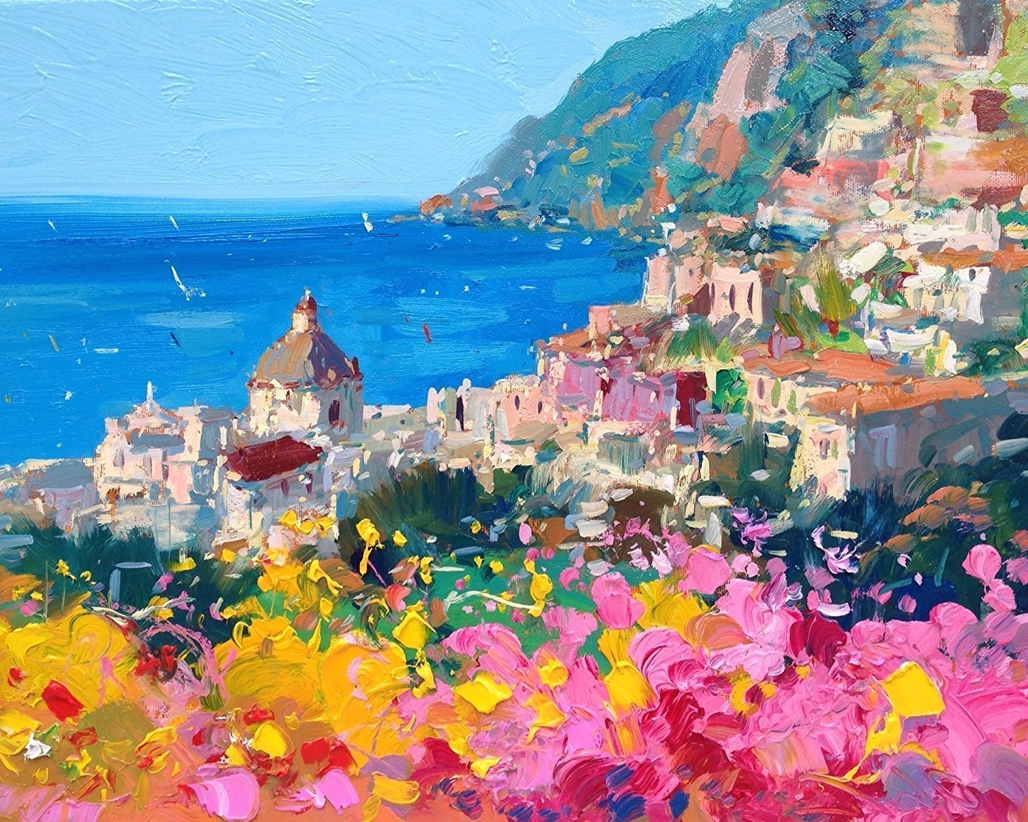 Italian Coast Wall Art Throughout Most Up To Date Amazon: Romantic Positano Fine Art Print On Paper And Canvas (Gallery 15 of 15)