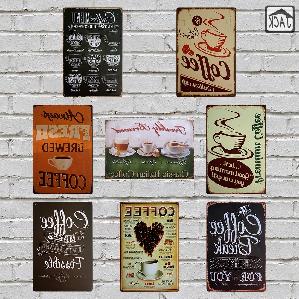 Italian Coffee Wall Art In 2017 Fresh Brewed Coffee Menu Metal Plaques Cafe Bakery Shop Kitchen (View 8 of 15)