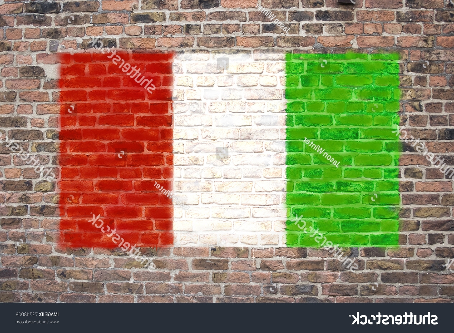 Italian Flag Sprayed On Brick Wall Stock Illustration 73748008 Throughout Preferred Italian Flag Wall Art (Gallery 15 of 15)
